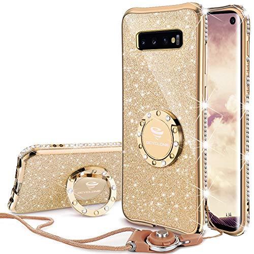 Hülle, Glitzer Diamant Handyhülle mit Trageband und Handy Ring Ständer Schutzhülle für Galaxy S10 Handy Hülle für Mädchen Frauen, [6.1 Zoll] Gold ()