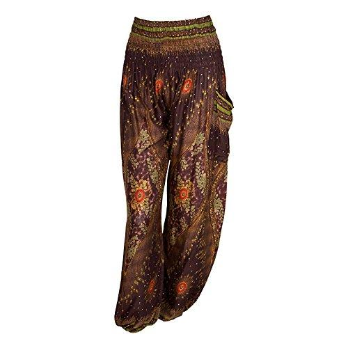 HAREM pantaloni - ALADDIN HIPPIE pantaloni con 18 motivi diversi Peacock Brown