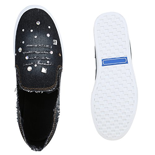 Damen Sneakers Slip-ons Jeans Denim Slipper Strass Schuhe Schwarz