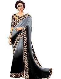 Surat Creations Designer Black & Grey Georgette Saree With Mirror Work For Women (1201G)