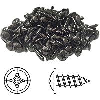 100 tornillos de chapa Phillips alomada con arandela estampada cincado negro 4,8 x 16 mm