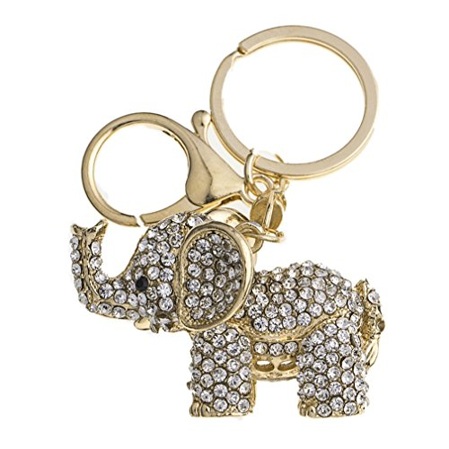 YAZILIND Llavero Elefante Incrustaciones de Moda de Diamantes de imitación de Las niñas Colgantes Accesorios Colgante Ornamentos (Oro)