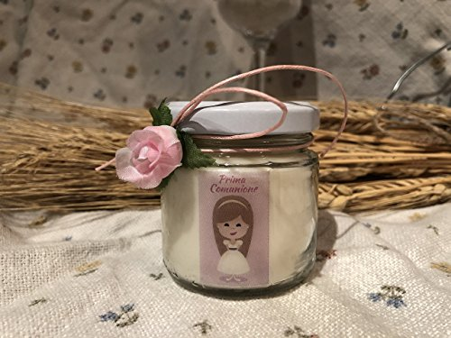Bomboniera prima comunione femmina - 25 o più vasetti confezionati (scritta sull'etichetta, sacchetto e confetti) con candele di cera di soia e oli essenziali