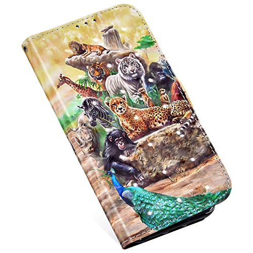 QPOLLY Hülle Kompatibel mit Samsung Galaxy A3 2017 Ledertasche Klappbar im Bookstyle,3D Bling PU Leder Magnet Geldbörse Handyhülle mit Kartensteckplatz Standfunktion Flip Case für Galaxy A3 2017,Tiere