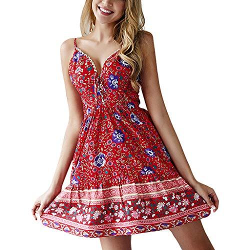 224a226202cb9d Momoxi Abito Donna, Boho Floral Spaghetti Strap Button Down Swing Dress  Sottile Vestito con Abito