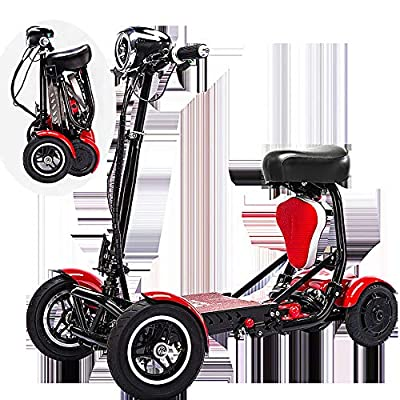 SSCJ Portable Mobility Scooter Travel Car Boot Scooter 4 Wheel Portable Mobility Scooter 10AH Batteries Cruising range 30km