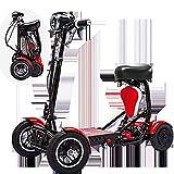 SSCJ Roue portative de mobilité de Scooter 4 de Roue de démarrage de Scooter de Botte de Voiture de Voyage de mobilité portative de Scooter 10AH Gamme de croisière 30km,Red