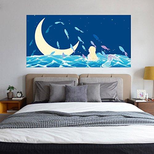 Kreativ 3D Nachttisch Aufkleber DIY Dekorative Wandaufkleber Wasserdicht Abnehmbar Hintergrundwände Selbstklebende Tapeten Mond Unter Der Meerjungfrau,45*180cm*2Pcs (Nachttische Unter $100)