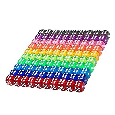 100 Pieces Translucent Colors 6-Sided Games Dice Set, 16 mm Round Corner Dice for Playing Games, Like Board Games, Dice Games, Math Games, Party Favors, Toy Gifts or Teaching kids Math from Blulu