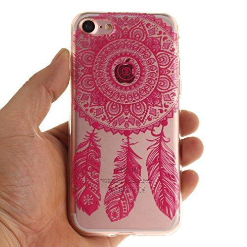 BONROY® Coque pour iPhone 6 6S (4,7 Zoll),Housse en cuir pour iPhone 6 6S (4,7 Zoll),imprimé étui en cuir PU Cuir Flip Magnétique Portefeuille Etui Housse de Protection Coque Étui Case Cover avec Stan Rose Rouge Campanula