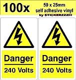 STICKERZZZ!!! 133x Danger 240 Volt Mains Voltage Electrical Warning Safety PVC Stickers Bild