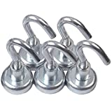Emovendo 5 Neodymium Hook Magnets - Each Holds Up To 12 Lb