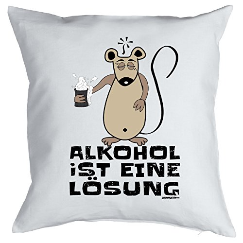 Kissen mit Füllung - ALKOHOL IST EINE LÖSUNG - Witziges Zusatzkissen, Kuschelkissen, 40x40 als Geschenkidee. -
