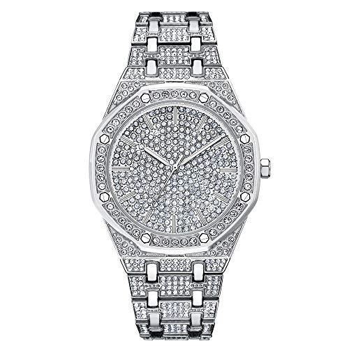 ing-Ed Out Hip Hop Uhr - Herren Iced Out Luxuriöse Metalluhr mit simulierten Diamanten ()