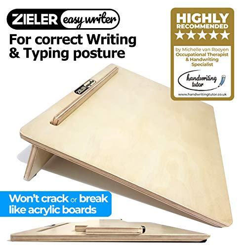 Zieler Easywriter Leggio inclinato per scrittura, per una postura ergonomica Alta qualità, finitura in legno laccato con inclinazione di 20° gradi.Prodotto adatto sia per mancini che per destrimani.Design salvaspazio. Dimensione A3.