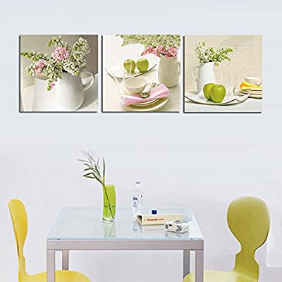 3 Piece Contemporary Kitchen Decor Split Canvas Picture of Art Wall Canvas Artwork, Framed, Ready to Hang, All Images on Large, Real Wood Frames #14-38