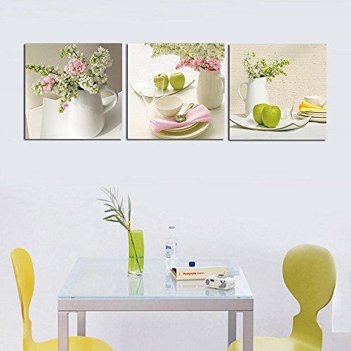 3 piezas de diseño Kitchen Decor cuadro de pared con diseño de cuadros en lienzo, con marco, listo para colgar, todas las imágenes en tamaño grande, madera de marcos #14-38