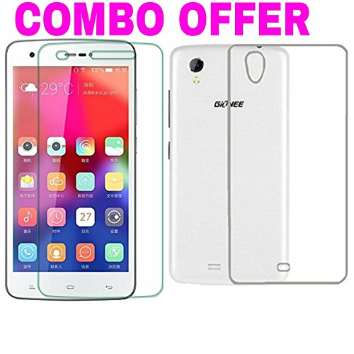 AVICA™ COMBO OFFER Premium Transparent Crystal Clear Back Cover TPU +2.5D Tempered Glass Screen Protector For Gionee Pioneer P6