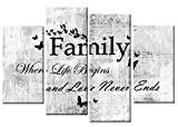 Family Quote Canvas Picture White Grey Black 4 Panel 100cm Wall Art ready to hang template included for easy hanging