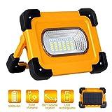 Luz de Trabajo LED Recargable 60W, T-SUN Luz de Inundación Portátil con Panel Solar, 4 Modos, Impermeable IP65 con Baterías Recargables Incorporadas 9000mAh y Puerto USB y Modo de Emergencia SOS.
