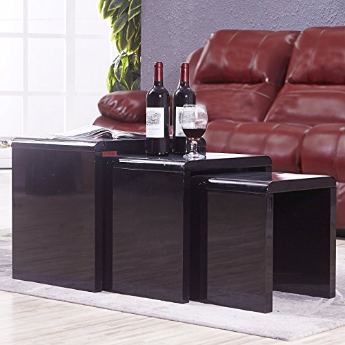 Uenjoy high gloss nest of coffee table side table living room black uenjoy high gloss nest of coffee table watchthetrailerfo