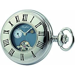 Woodford Mechanical Half-Hunter Pocket Watch, 1024, Men's Chrome-Finished 24Hour Moon-phase with Chain (Suitable for Engraving)