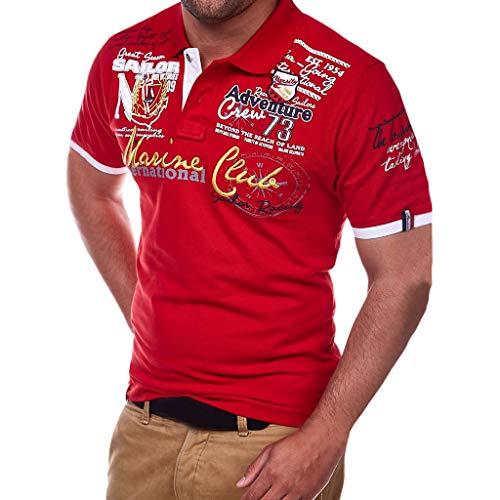 Herren Poloshirt Polo Polohemd Kurzarmshirt Besticken Basic Shirt, T Shirts Männer Coole Print Sweatshirt Slim Fit (Rot, XXL) -