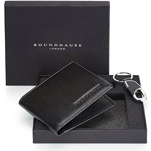 Roundhause portafoglio maschile sottile in pelle porta carte di credito organizzatore banconote e porta chiavi in pelle confezione regalo