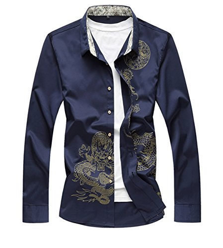 Allthemen - Camisa Casual - Manga Larga - para Hombre Dragon-Navy Medium