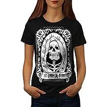 wellcoda unheilig Rose Tod Schädel Frau S-2XL T-Shirt