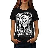 wellcoda unheilig Rose Tod Schädel Frau M T-Shirt