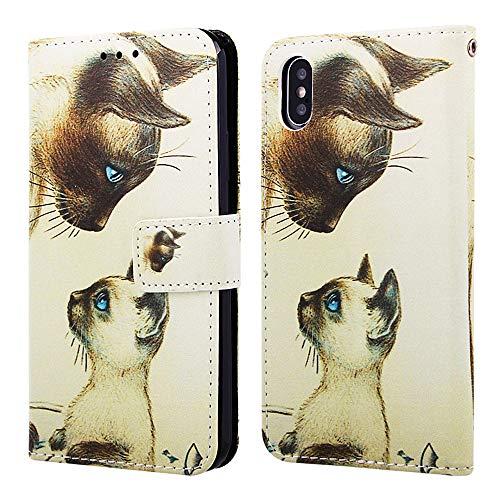 """Nadoli Leder Hülle für iPhone Xs 5.8"""",Bunt Weiß Katze Malerei Ultra Dünne Magnetverschluss Standfunktion Handyhülle Tasche Brieftasche Etui Schutzhülle für iPhone Xs/X 5.8"""""""