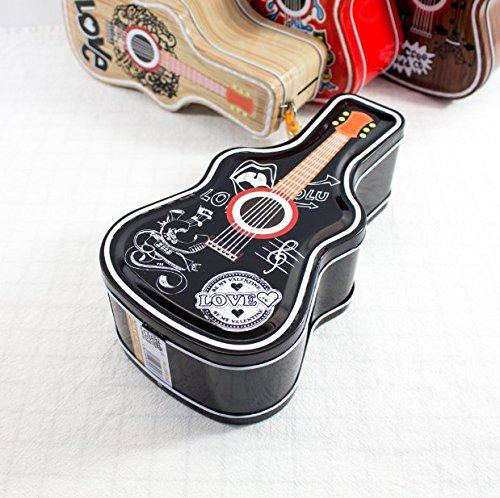Coin Savings Banks Hip Hop Gitarre Spardose Kreativ Weißblech Candy Jar mit Schloss, metall, Schwarz, 12 * 7 * 23cm (Coin Candy)