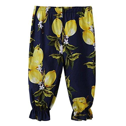 Dinglong Age 2-7 Years Old Baby Girls Trousers, Toddler Kids Lemon Printing Loose Casual Leggings Pants