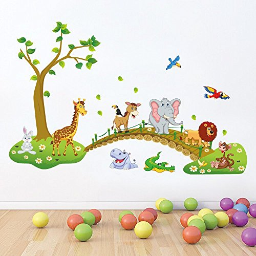 Paper Plane Design Rectangular Jungle Animals Kids Wall Stickers for Kids (Paper, 120 cm X 0.2 cm X 90 cm, Multicolour)