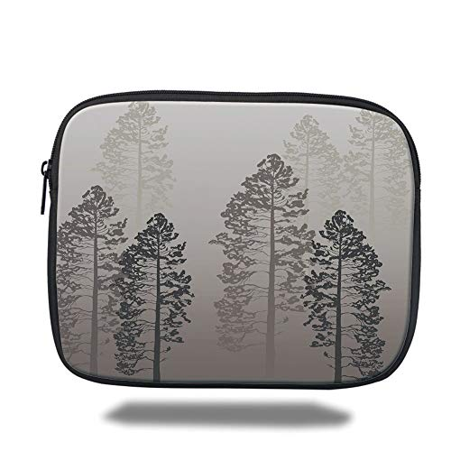 Laptop Sleeve Case,Country,Pine Trees in The Forest on Foggy Seem Ombre Backdrop Wildlife Adventure Artwork Decorative,Warm Taupe,Tablet Bag for Ipad air 2/3/4/mini 9.7 inch -