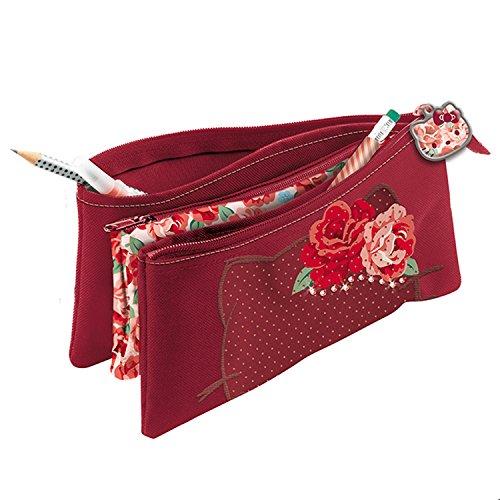 Giochi Preziosi Hello Kitty Passion Roses Astuccio Bustina con Tre Cerniere con Swarovski, 22 cm, Bordeaux