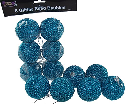 12Stück Polyfoam Hot Blau Glitzer Bead Weihnachtsbaum Weihnachtskugeln/Dekorationen (Krippenfiguren Schneekugel)