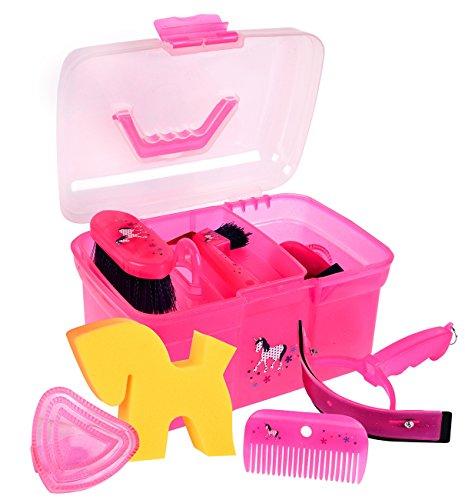 Amesbichler Putzbox Putzkiste Unicorn PINK befüllt für Kinder, mit herausnehmbarem Einsatz | Kinder Pferde Putzbox | Putzköfferchen | Grooming Box