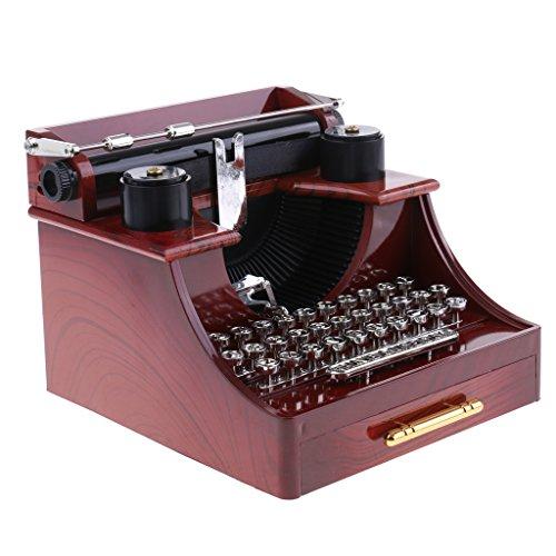 Homyl Retro Stil Schreibmaschine Modell Spieluhr Uhrwerk Spielzeug für Desktop oder Schlafzimmer Dekoration