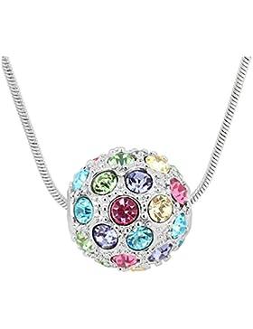 Sojewe Mode Schmuck Silberton Kugel geformt Anhänger Halskette bunt Swarovski Elemente Kristall Kette für Damen...