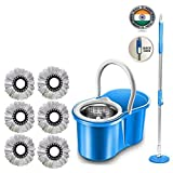 Whitecloud 360 Degree Rotating Steel Spinner Easy Floor Cleaning PVC Bucket Mop (with 6 Refills)
