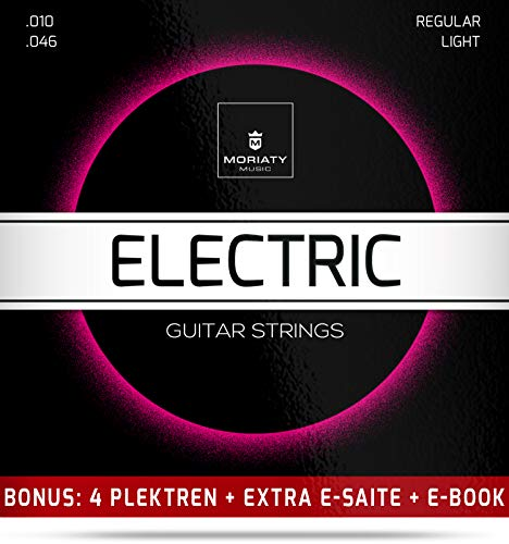 E-Gitarren-Saiten + 4 Plektren + Extra hohe E-Saite + eBook ★ TESTSIEGER 2019¹ ★ Premium Stahl-Nickel E-Gitarren Saiten (6 Saiten-Set)