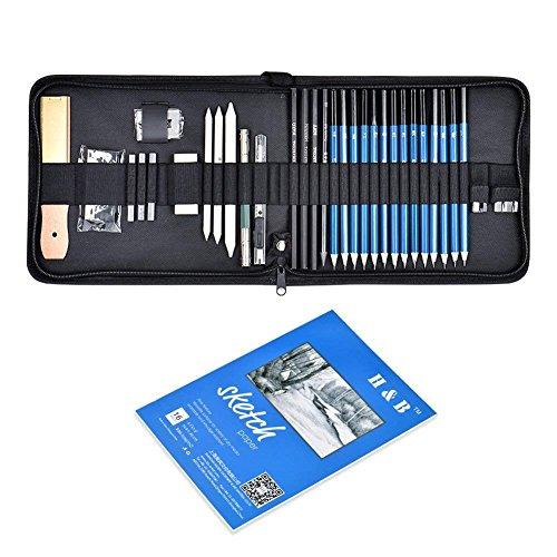Cozywind Skizzieren Bleistifte Set für Künstler Bleistifte für Zeichnen Professionell Zeichenstifte Bleistifte Skizzierstifte Kunst Kit Zeichenwerkzeuge mit Etui (35 PCS)