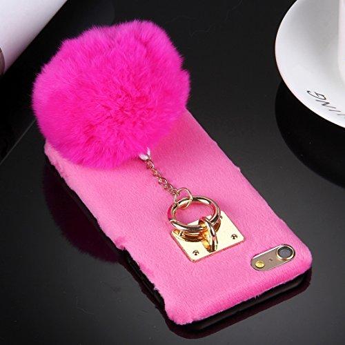 Phone case & Hülle Für iPhone 6 Plus / 6s Plus, Plüsch Tuch Abdeckung PC Schutzhülle mit Pelzkugel Kettenanhänger ( Color : Grey ) Magenta
