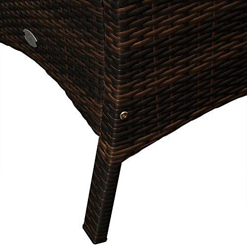 Deuba Poly Rattan Sitzgruppe 8+1 braun | 7cm dicke Sitzauflagen | Tischplatte aus Akazienholz | wetterbeständiges Polyrattan [ Modellauswahl 4+1/6+1/8+1 ] - Gartenmöbel Gartenset Sitzgarnitur Set - 5