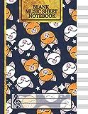 Blank Music Sheet Notebook: (Cute Stars & Cats Music Composition Books) Music Manuscript Paper, Staff Paper, Music Notebook 12 Staves...