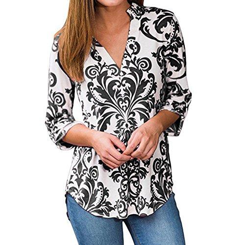 Hibote Femmes Floral Imprimé en Mousseline de Soie Split V Neck 3/4 Manches Casual Chemise Vintage Tunique Blouse Tops T-Shirt Noir
