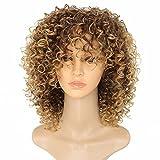 Marian Perruque Femme Synthétique Cheveux Perruque Afro Perruque Ombre Blonde Longue Bouclée