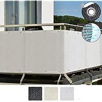 Sol Royal SolVision Balkon Sichtschutz HB2 HDPE blickdichte Balkonumspannung 90x500 cm - Weiß - mit Ösen und Kordel